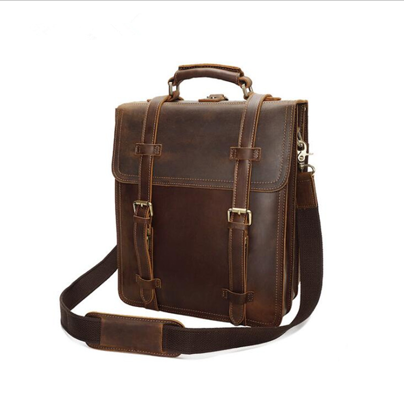 Men Fashion Backpack Crazy horse Leather Bag Men Travel Backpacks School For Teenage Laptop Bags Male Genuine Leather Backpack men original leather fashion travel university college school book bag designer male backpack daypack student laptop bag 9950