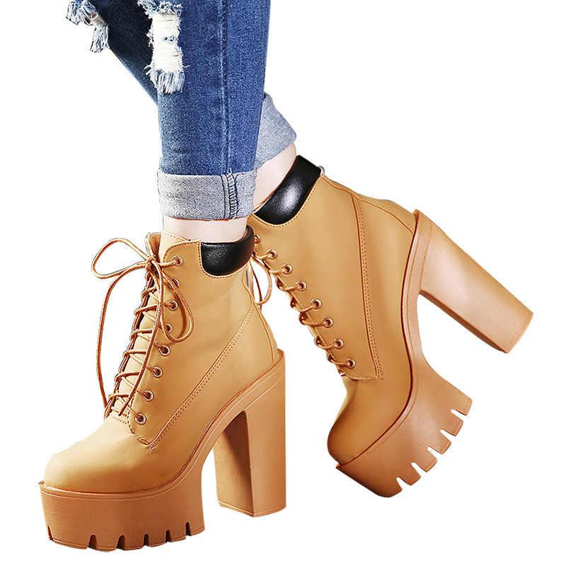 Prova perfetto Moda Bahar Sonbahar Platformu yarım çizmeler Kadınlar Lace Up Kalın Topuk Platform Çizmeler Bayanlar Işçi Botları Siyah