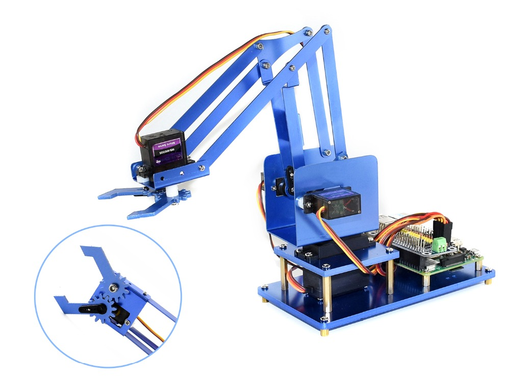 Waveshare 4-DOF Métal bras robotisé Kit pour Raspberry Pi Zéro/Zéro W/Zéro WH/2B/3B/ 3B + Bluetooth/WiFi télécommande