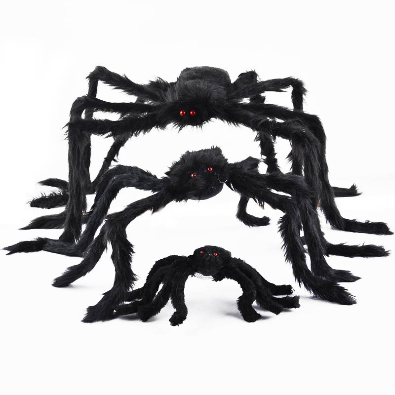 Soft Black Plush Spider Funny Toys Scary Red Eyes For