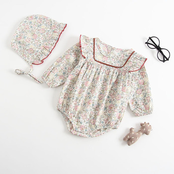 Ins Sweet Toddler Baby Girls Floral Rompers with Hats Candy Color Cute Children Fashion Spring Summer Clothes