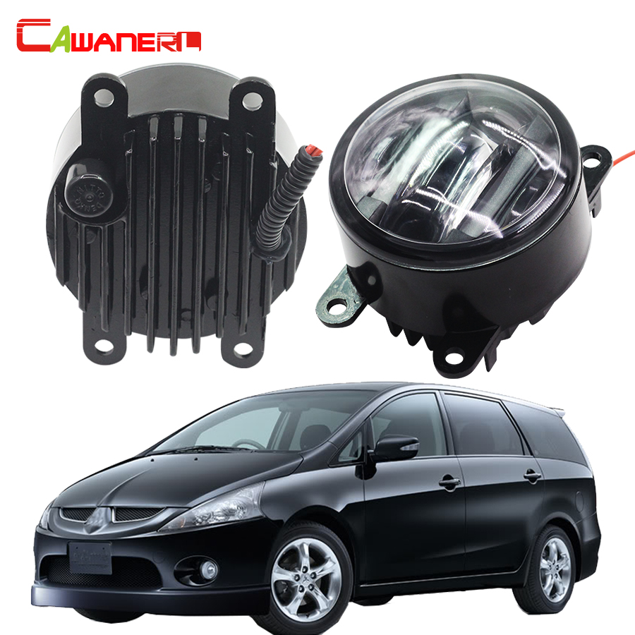 Cawanerl For Mitsubishi Grandis NA_W MPV 2004-2011 Car Front Right + Left Fog Light LED DRL Daytime Running Lamp 2 Pieces cawanerl 2 x car led fog light drl daytime running lamp accessories for nissan note e11 mpv 2006