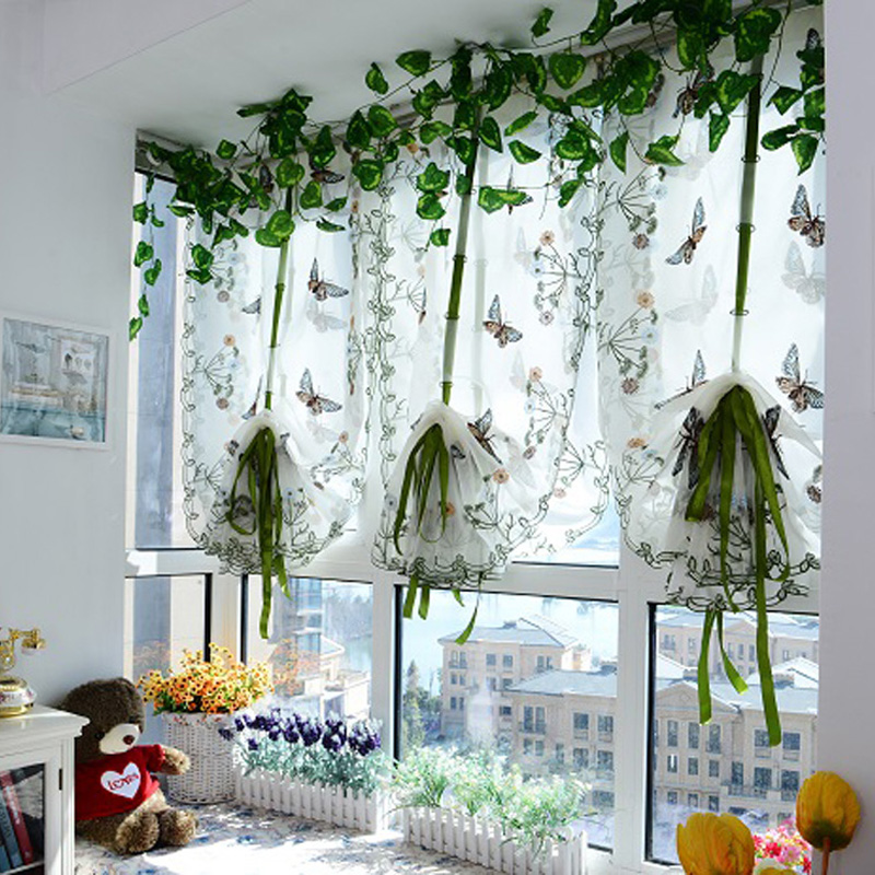 Rustic Butterfly Over Flowers Design Curtain Short Sheer Curtain Panel For Hotel Home Cafe House