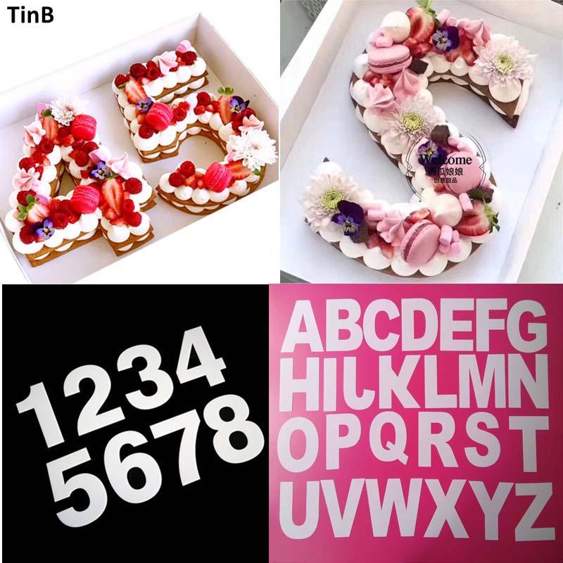 Molde de pastel de plástico para mascotas herramienta de decoración de pastel de cumpleaños diseño de pastel alfabeto letra Muffin molde de pastel utensilios de pastelería