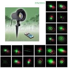 Laser star RG Remote 20 Patterns shower Red Green motion Christmas Laser Projector  Outdoor IP65 Waterproof Garden Decoration