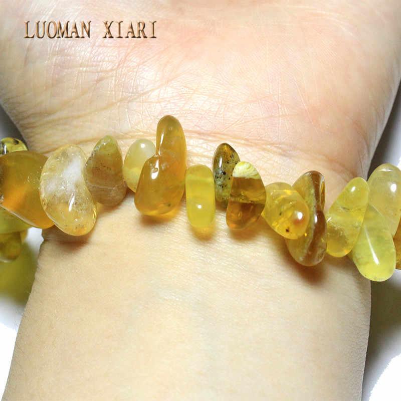 Sprzedaż hurtowa 12-20mm kij kształt żółty jade kamień naturalny koraliki do tworzenia biżuterii naszyjnik DIY bransoletka materiał Strand 15''