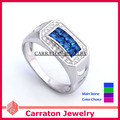 Carraton New Fashion AAA CZ Tension Setting 925 Sterling Silver Men Ring