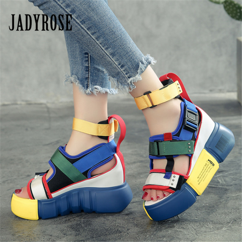 Jady Rose 2019 New Colorful Women Sandals Casual Platform Shoes Woman Summer Height Increasing Sandal Gladiator Wedge SandalsJady Rose 2019 New Colorful Women Sandals Casual Platform Shoes Woman Summer Height Increasing Sandal Gladiator Wedge Sandals