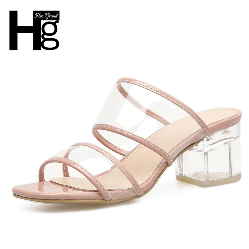 HEE GRAND Crystal Mules Summer Sexy High Heels Platform Shoes Woman Slippers Slip On Slides Pumps Fashion Women Shoes XWT1109 hee grand gold silver high heels 2017 summer gladiator sandals sexy platform shoes woman casual shoes size 35 43 xwz4075