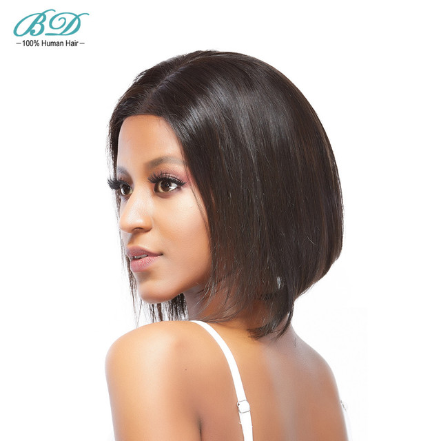 Bd Hair Straight Short Bob Wigs Peruvian Remy Hair Lace Front Human