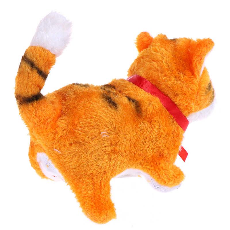 새해 크리스마스 완구 어린이를위한 선물 전자 애완 동물 전기 고양이 걷기 짖는 소리 뮤지컬 인터랙티브 로봇 고양이
