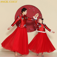 Mother Daughter Dresses Fashion Parent Child Dress Family Matching Outfits Red Satin New Year Dress Kids Gown For Girls Clothes