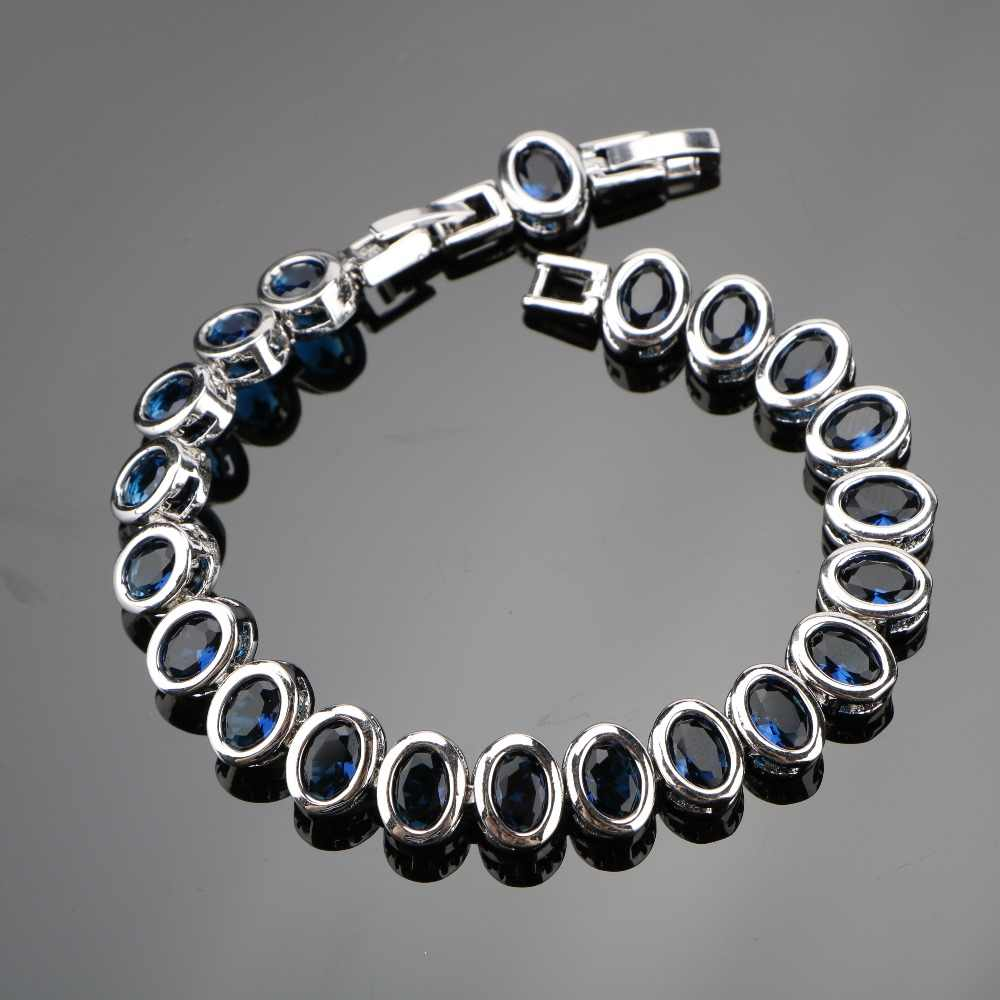 SexeMara Elegant Ladies Blue AAA+ Cubic Zirconia 18+2CM Silver 925 Jewelry Chain Link Bracelets For Women Free Jewelry Box
