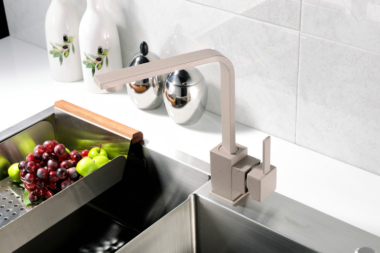 Robinets de bassin de Quartz gris de cuisine 360 mitigeur pivotant robinet de bassin un robinet accessoires de bassinRobinets de bassin de Quartz gris de cuisine 360 mitigeur pivotant robinet de bassin un robinet accessoires de bassin