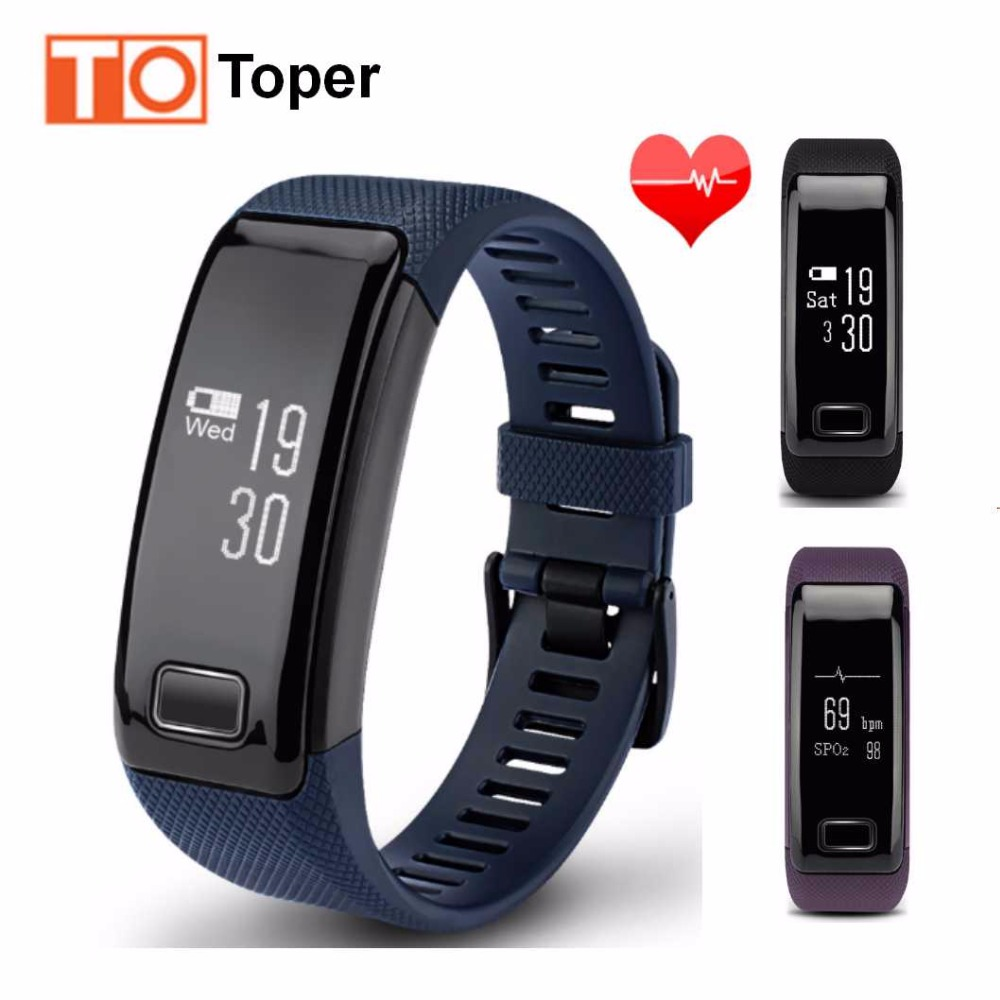 Toper Smart Bracelet Wristband Fitness Tracker Smart Bracelet Heart Rate Monitor for Android IOS IP67 Waterproof