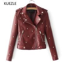 coat women Korean fashion Slim autumn Stud/rivet pilot leather jacket locomotive coat Diagonal zipper imitation leather Coat