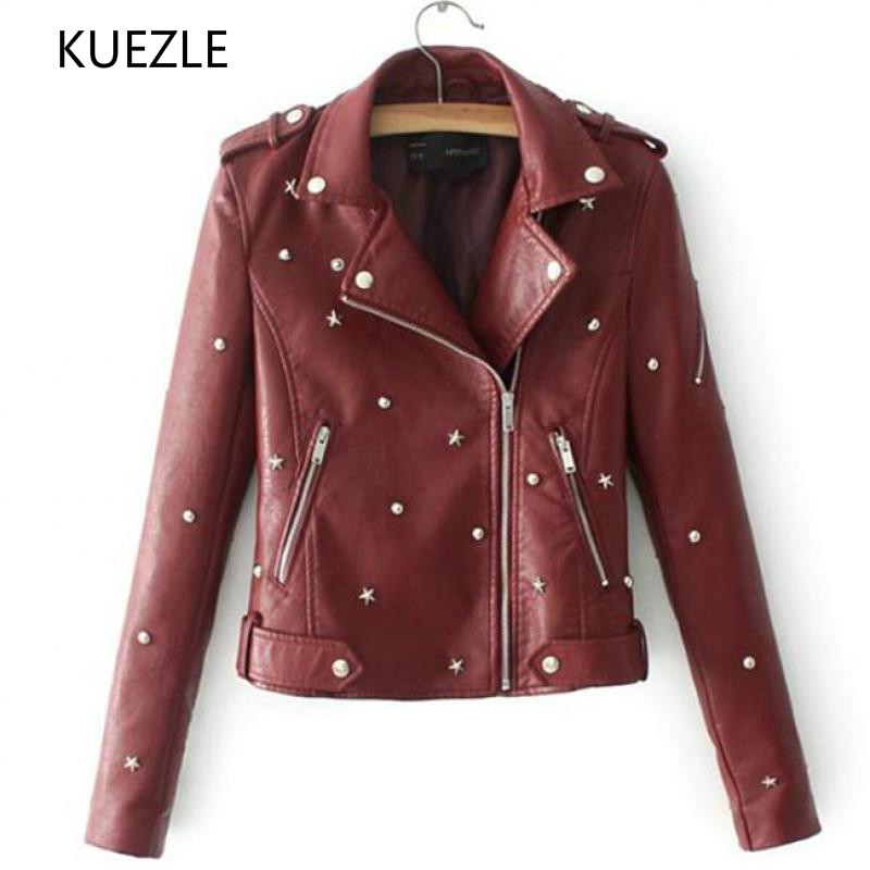 coat women Korean fashion Slim autumn Stud/rivet pilot   leather   jacket locomotive coat Diagonal zipper imitation   leather   Coat