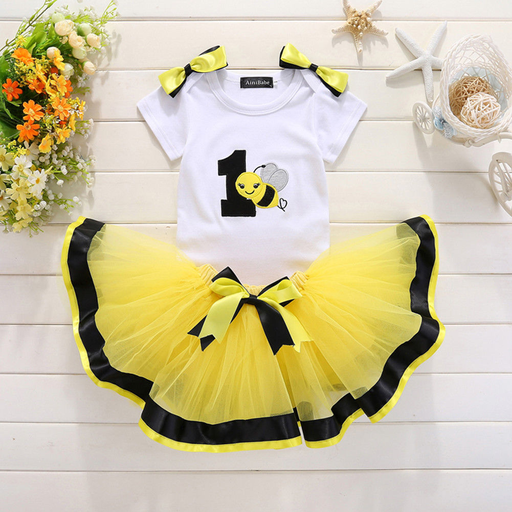 One Years Old Toddler Baby Girls Bee Birthday Set Bowknot Romper Top+Tutu Skirt Toddler Party 1Y Birthday Dress Outfit