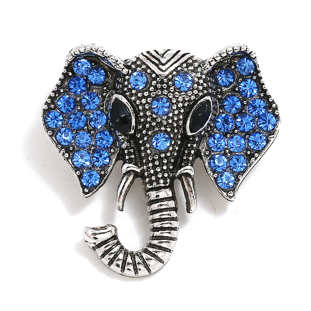 10pcs/lot IB051 New Snap Jewery Antique Silver Crystal Elephant Snap Buttons Fit 18mm Snap Button Bracelet Bangles DIY Jewelry