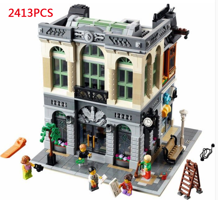 Classic city street view creator Bank building block model mini clerk manager figures 10251 lepins bricks toys for children gift hot classic movie pirates of the caribbean imperial warships building block model mini army figures lepins bricks 10210 toys