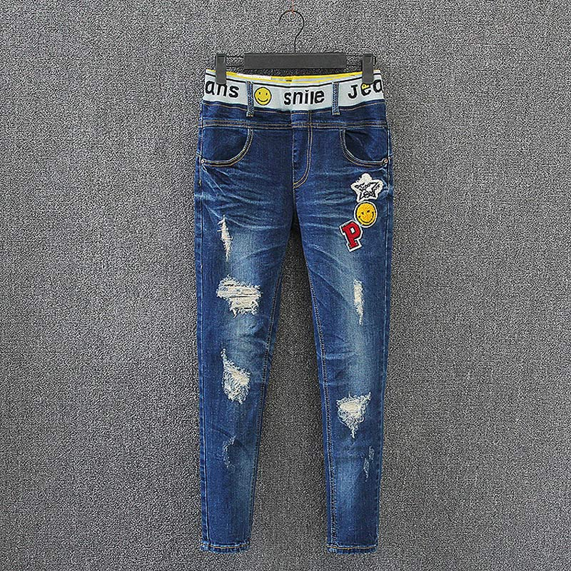 D6 Spring Casual Women Skinny Jeans Plus Size Clothes Washed Scratch Bleached Ripped Hole Fashion Stretch Denim Pencil Pants 588