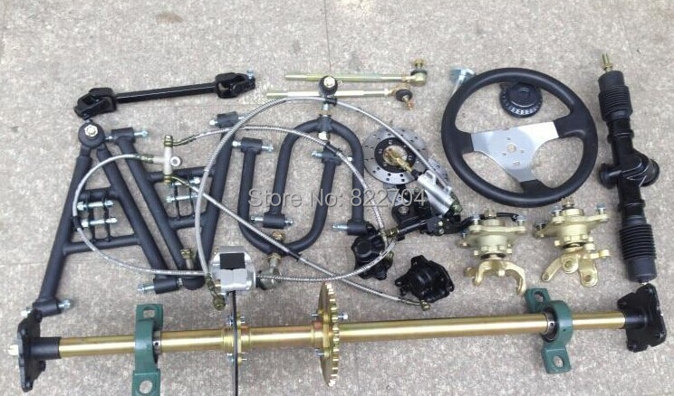 Go kart ATV parts four wheel steering front suspension ...