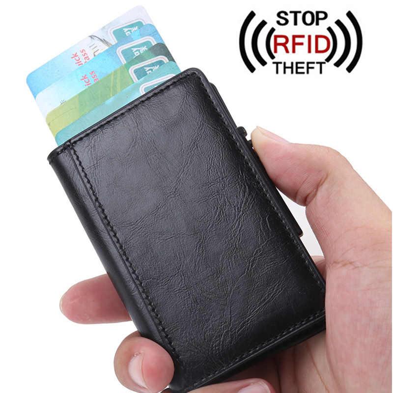 Mens RFID Blocking Slim Leather Anti Theft Wallet ID Credit Card Case Holder