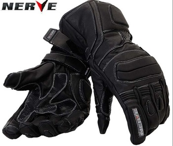 100% waterproof authentic Germany NERVE KQ-019 leather motorcycle gloves cross-country knight glove winter warm breathable