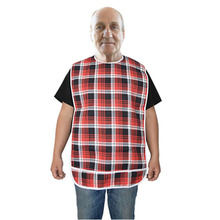 Waterproof Ladies & Men Adult Bib Tartan Plaid Clothing Spill Mealtime Protector Long Length