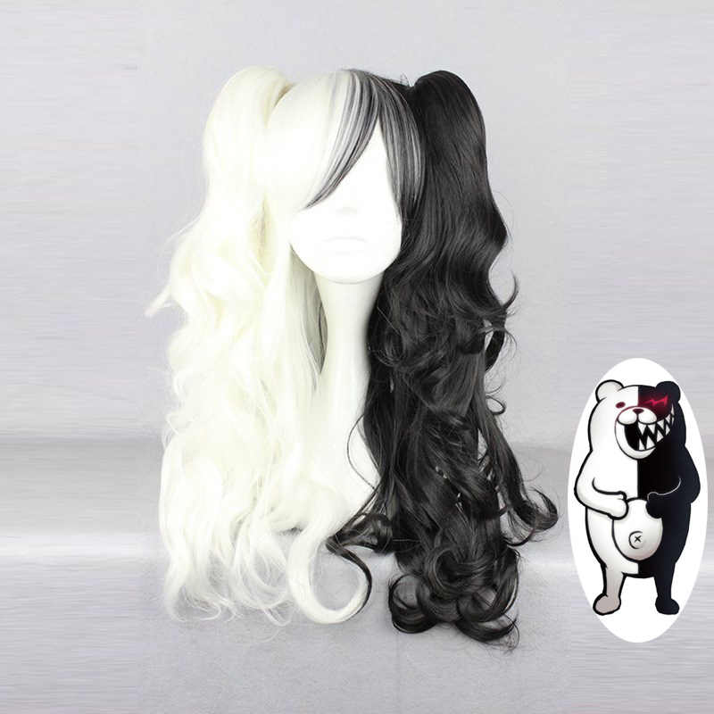 Danganronpa Monokuma Women Long Ponytails Curly Wig Cosplay Costume White Black Mix Heat Resistant Synthetic Hair Wigs + Wig Cap