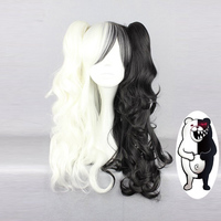 Danganronpa Monokuma Women Long Ponytails Curly Wig Cosplay Costume White Black Mix Heat Resistant Synthetic Hair Wigs + Wig Cap