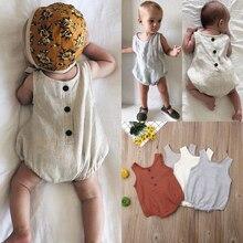 AU Summer Newborn Baby Girl Boy Clothes Cotton&linen Bodysuit Outfits Set Spring Infant Toddler Jumpsuit