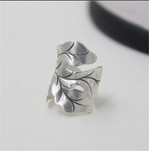 JINSE Thai Silver Ring Pure Silver Jewelry Ring For Girl Vintage Leaf Shape Lady Ring Adjustable Antique Accessorie цена