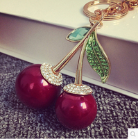 Red Cherry Crystal Keychain New 2015 Korean Luxury Brand Jewelry Women Bag Accessories Charm Chaveiro Llaveros