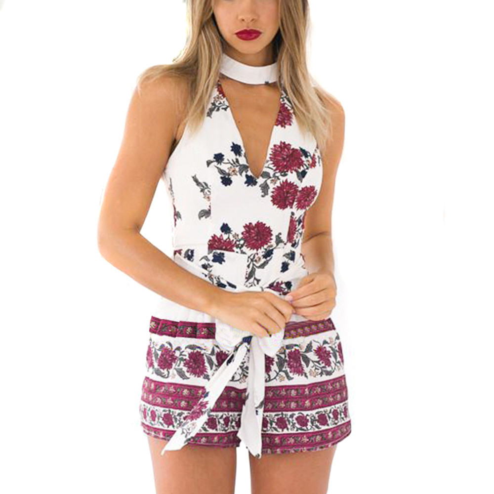 Womail Female Monos Women Summer Off Shoulder Floral Fit Romper Printing Playsuit Shorts Jumpsuit Rompers Drop Shipping 13June6
