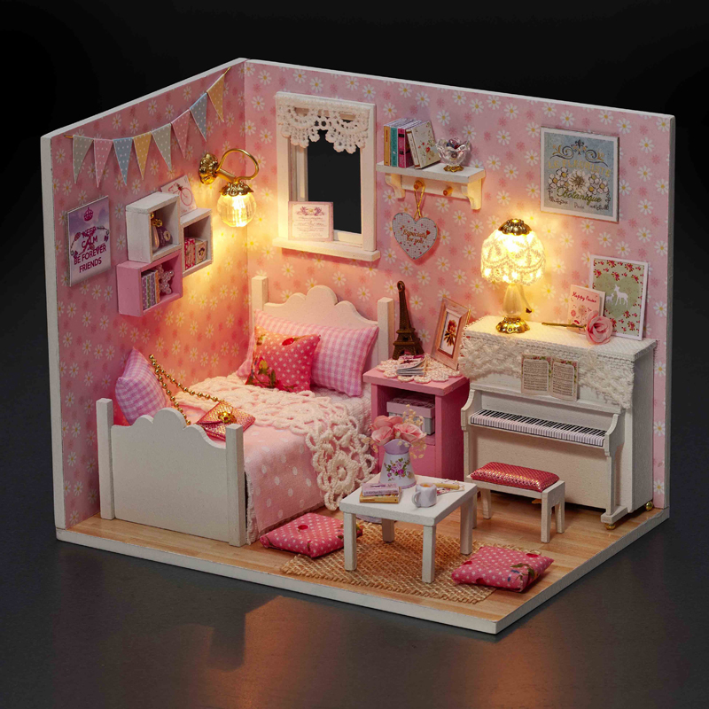 Elegant DIY Model Miniature Dollhouse With Furnitures LED 3D Wooden House Toys Handmade Crafts Gifts For Children H015 #D
