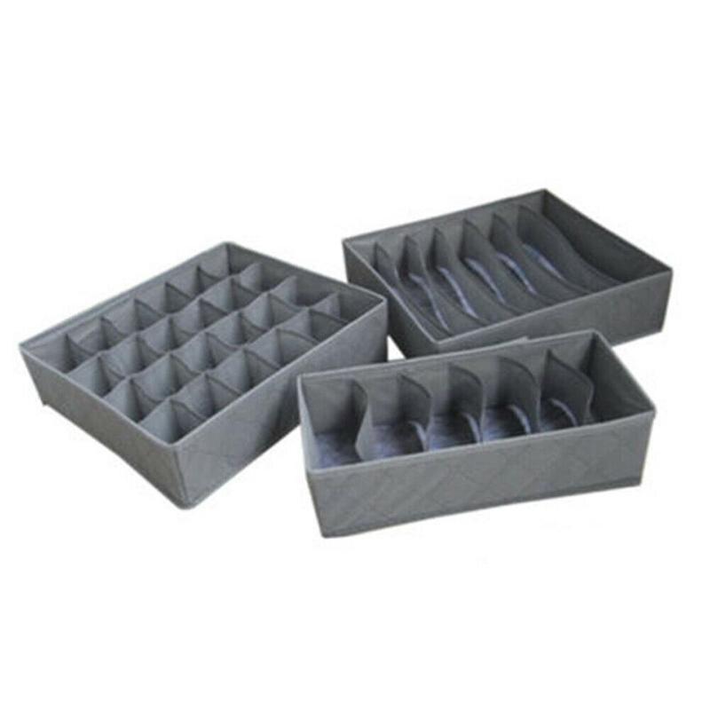 3pcs/set Multifunctional Clothes Socks Bra Ties Underwear Storage Boxes Organizer Container Home Storage Box