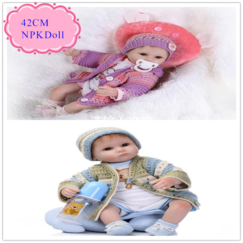 Adora 42cm 17inch Silicone Reborn Baby Doll With Handmade Sweater Clothes Good Quality Beneca Bebe Reborn Silicone As Girl Toys handmade reborn baby doll clothes suit for 10 inch to 12 inch baby doll