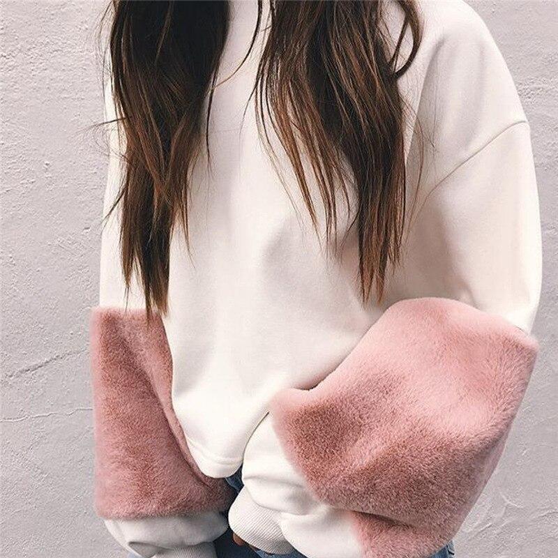 HTB1F2D9SXXXXXXDaXXXq6xXFXXXa - FREE SHIPPING Women Faux Fur Crop Hoodies Sweatshirt Tumblr Oversize Pink JKP282