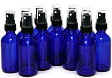 2 OZ Blue Green Amber Glass Bottles with Black Fine Mist Sprayers Perfect for Light Sensitive Liquids 12pcs/lot P107