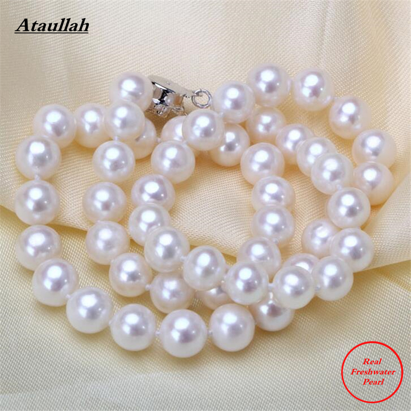 Ataullah Real 8-9MM Statement Freshwater Pearls Choker Necklaces for Women Chocker Collier Colar Maxi Necklaces Jewelry NFP007 fashion statement necklace red blue crystal flower pendant leather chain choker colar chokers necklaces women chocker jewelry
