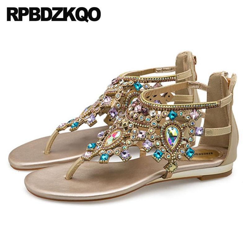 a0c09c76900e69 ... Shoes Rhinestone Ethnic Crystal Blue Thong Flat Jewel Strappy Ladies  Fashion Open Toe T Strap Women  Rhinestone Shoes Sandals ...