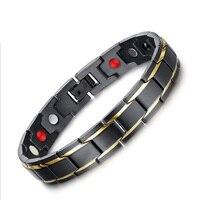 Fashion Healing FIR Magnetic Titanium Bio Bracelet For Men Blood Pressure Health Bio Bracelets Black And