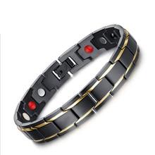 Curación abeto magnética titanium bio pulsera para hombres de moda salud de la presión arterial bio pulseras negro y chapado en oro de joyería