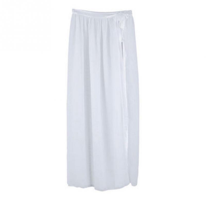 5379a125e € 4.05 25% de DESCUENTO Nuevo verano mujeres Sexy Chiffon Sheer Bikini  Cover Up Side Slit falda traje de baño playa Maxi Wrap falda Sarong falda  en ...
