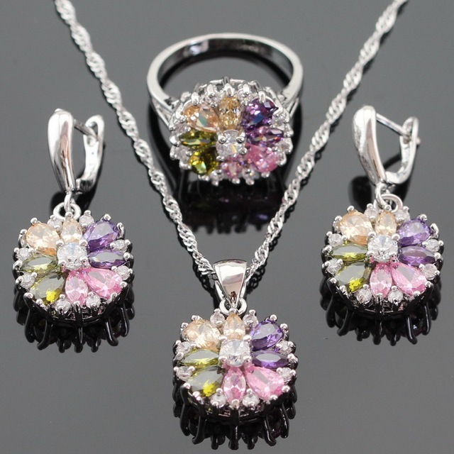 Christmas Multicolor Stones Silver Color Jewelry Sets For Women Necklace Pendant Drop Earrings Rings Free Gift Box