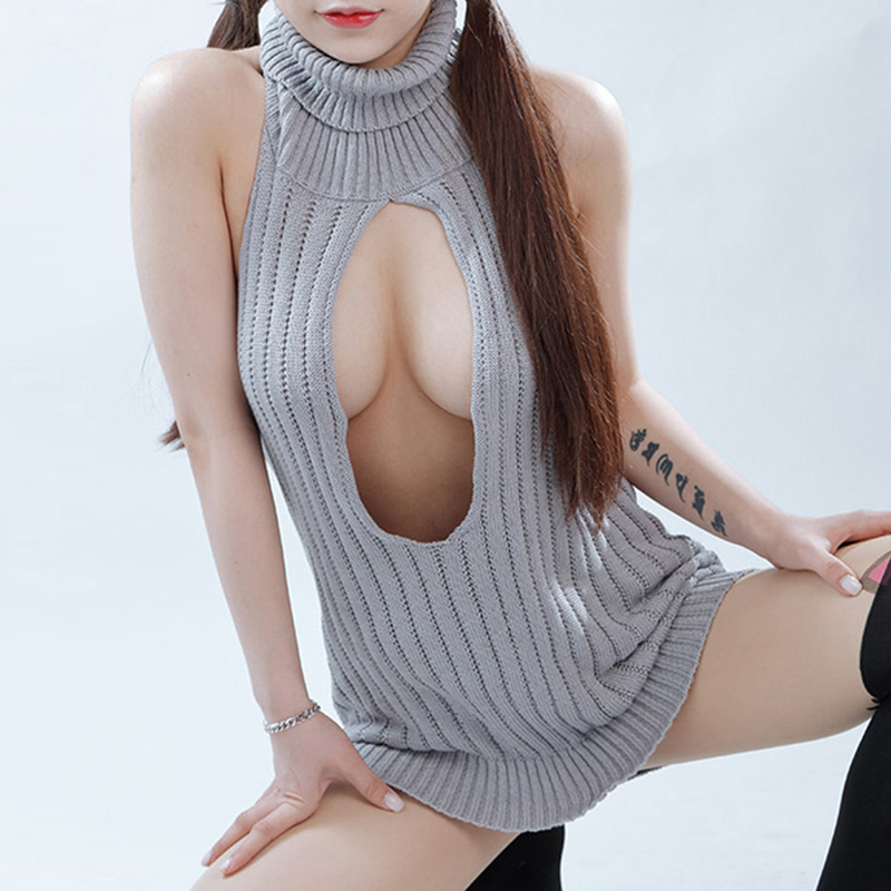 Sexy Women Cosplay Backless Virgin Killer Sweater Bodysuit Turtleneck Open Chest Hollow Japanes Knitted Sweaters Pullovers F28