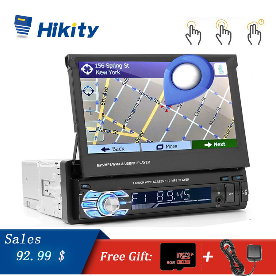 Hikity Car Multimedia Player 1 din car radio GPS Navigation Stereo Audio Radio Bluetooth Retractable MP5 AUX-IN FM USB AutoradioHikity Car Multimedia Player 1 din car radio GPS Navigation Stereo Audio Radio Bluetooth Retractable MP5 AUX-IN FM USB Autoradio