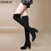 CDAXILAN new arrivals over the Knee Boots Women Faux Suede Thigh High Boots 7cm high-heel Stretch Slim Sexy Ladies Winter Boots цена