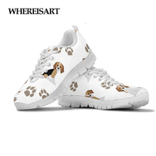 WHEREISART Lovely Animal Dog Beagle Pattern Women Flats Shoes Casual Womens Sneakers Woman Lace-up Comfort Zapatos Mujer